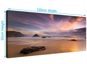 large purple plum seascape canvas wall art 120cmx50cm 1198
