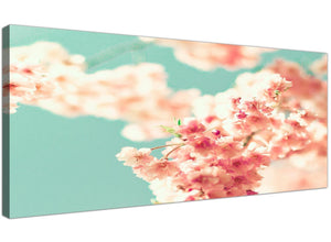 cheap japanese cherry blossom shabby chic pink blue floral canvas modern 120cm wide 1288 for your girls bedroom