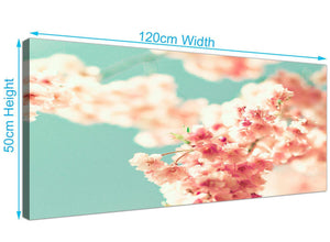 panoramic japanese cherry blossom shabby chic pink blue floral canvas modern 120cm wide 1288 for your study