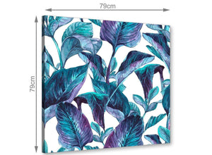 Chic Turquoise And White Tropical Leaves Canvas Modern 79cm Square 1S323L For Your Living Room