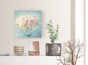 contemporary duck egg blue and white roses flowers floral canvas modern 49cm square 1s286s for your living room
