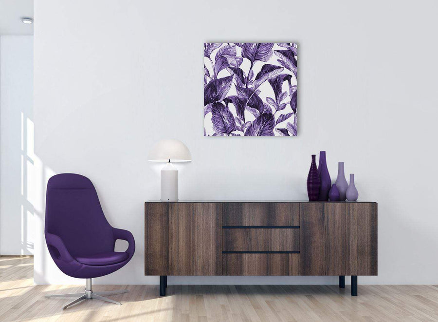 Cheap Dark Purple White Tropical Exotic Leaves Canvas Modern 64cm Square 1S322M For Your Living Room