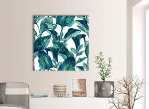 Contemporary Teal Blue Green Tropical Exotic Leaves Canvas Modern 79cm Square 1S325L For Your Bedroom
