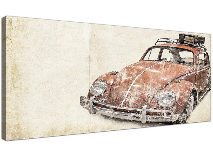cheap vw beetle bug rat look surfer brown volkswagen lifestyle canvas modern 120cm wide 1279 for your office