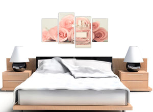 oversized large shabby chic pink cream rose perfume girls bedroom floral canvas multi 4 panel 4285 for your teenage girls bedroom