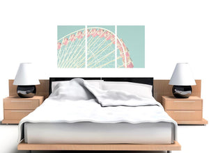 oversized shabby chic duck egg blue pink ferris wheel lifestyle canvas modern 120cm wide 1282 for your bedroom