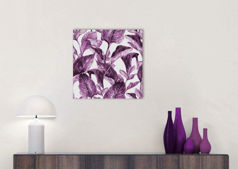 Cheap Plum Aubergine White Tropical Leaves Canvas Modern 49cm Square 1S319S For Your Girls Bedroom