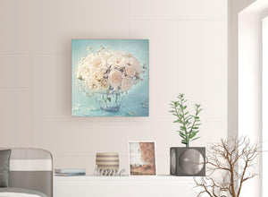 modern duck egg blue and white roses flowers floral canvas modern 64cm square 1s286m for your living room
