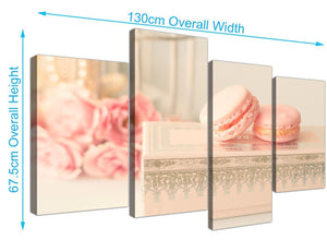 panoramic large pink cream french shabby chic bedroom abstract canvas multi 4 set 4284 for your girls bedroom