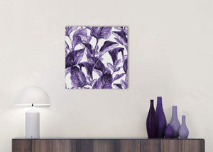 Cheap Dark Purple White Tropical Exotic Leaves Canvas Modern 49cm Square 1S322S For Your Living Room
