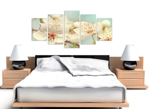 oversized extra large japanese cherry blossom duck egg blue white floral canvas split 5 set 5289 for your hallway