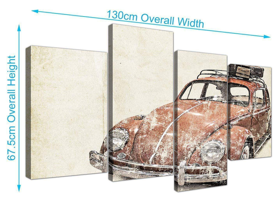 panoramic large vw beetle bug rat look surfer brown volkswagen lifestyle canvas split 4 part 4279 for your bedroom