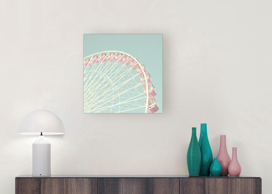 contemporary shabby chic duck egg blue pink ferris wheel canvas modern 49cm square 1s282s for your teenage girls bedroom