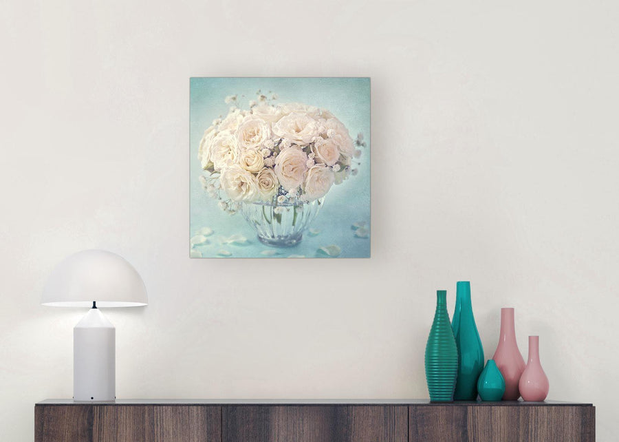 modern duck egg blue and white roses flowers floral canvas modern 49cm square 1s286s for your living room