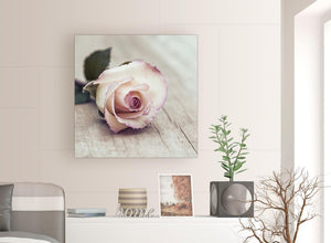 contemporary vintage shabby chic french rose cream realism canvas modern 79cm square 1s278l for your living room