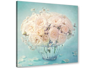 cheap duck egg blue and white roses flowers floral canvas modern 49cm square 1s286s for your dining room