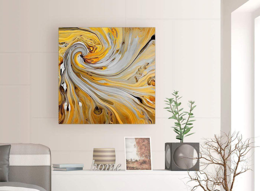 chic mustard yellow and grey spiral swirl abstract canvas modern 79cm square 1s290l for your bedroom