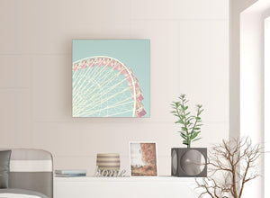 contemporary shabby chic duck egg blue pink ferris wheel lifestyle canvas modern 64cm square 1s282m for your girls bedroom