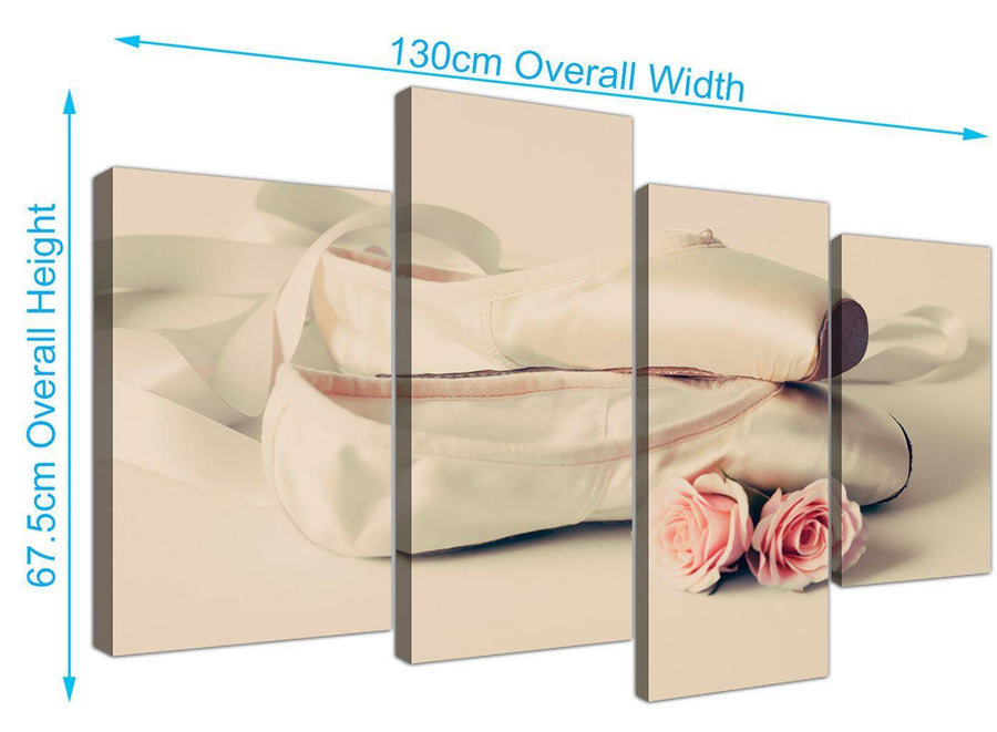 panoramic large ballet shoes pink cream shabby chic girls bedroom lifestyle canvas multi 4 part 4283 for your girls bedroom