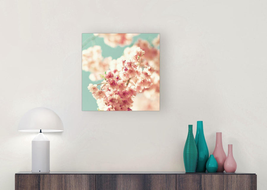 modern japanese cherry blossom shabby chic pink blue floral canvas modern 49cm square 1s288s for your living room