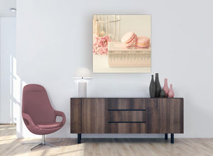 modern pink cream french shabby chic bedroom abstract canvas modern 79cm square 1s284l for your girls bedroom