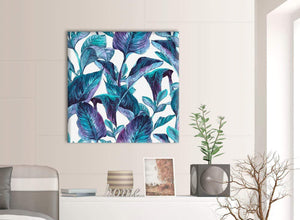Contemporary Turquoise And White Tropical Leaves Canvas Modern 79cm Square 1S323L For Your Kitchen