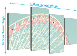 panoramic large shabby chic duck egg blue pink ferris wheel lifestyle canvas multi 4 part 4282 for your bedroom