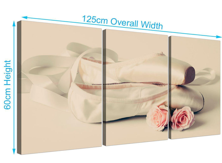 panoramic ballet shoes pink cream shabby chic girls bedroom lifestyle canvas multi 3 set 3283 for your bedroom
