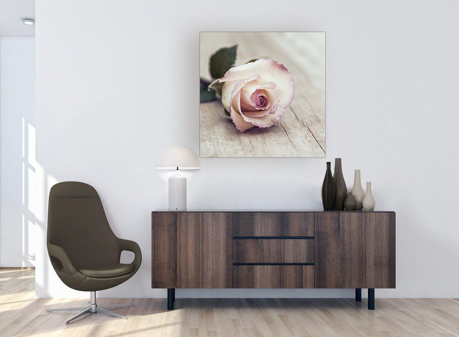 chic vintage shabby chic french rose cream realism canvas modern 79cm square 1s278l for your girls bedroom
