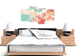 oversized large japanese cherry blossom shabby chic pink blue floral canvas multi 4 set 4288 for your living room