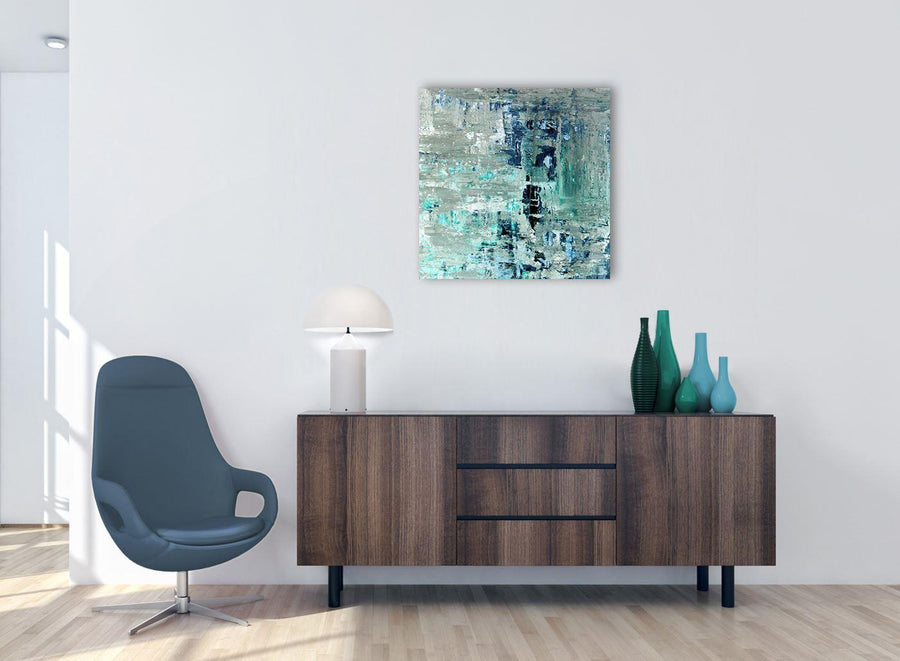 Cheap Turquoise Teal Abstract Painting Wall Art Print Canvas Modern 64cm Square 1S333M For Your Living Room