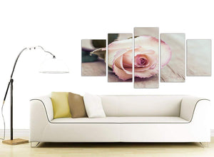 contemporary extra large vintage shabby chic french rose cream floral canvas multi 5 piece 5278 for your living room