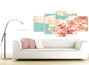 contemporary extra large japanese cherry blossom shabby chic pink blue floral canvas split 5 part 5288 for your girls bedroom