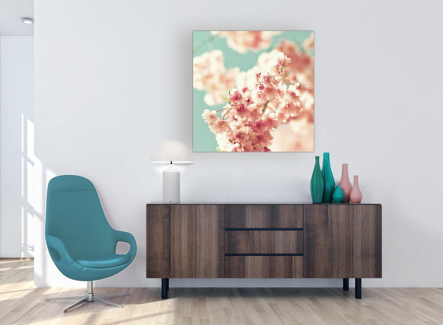 modern japanese cherry blossom shabby chic pink blue floral canvas modern 79cm square 1s288l for your girls bedroom