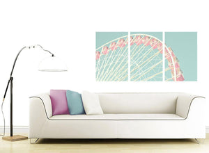 contemporary shabby chic duck egg blue pink ferris wheel lifestyle canvas split 3 set 3282 for your girls bedroom
