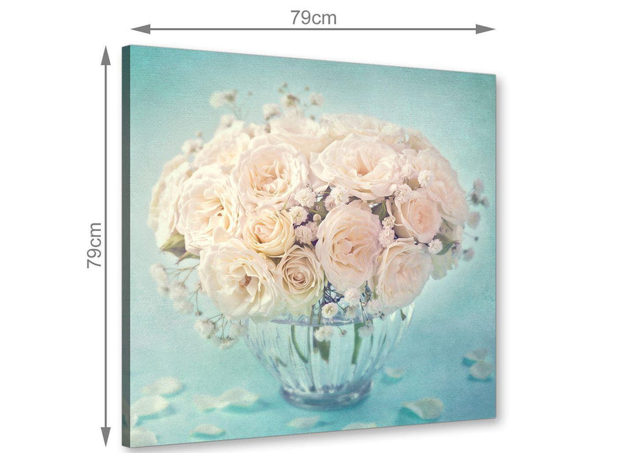chic duck egg blue and white roses flowers floral canvas modern 79cm square 1s286l for your dining room