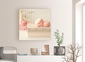 contemporary pink cream french shabby chic bedroom abstract canvas modern 79cm square 1s284l for your girls bedroom
