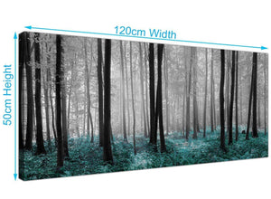 Teal Autumn Trees Canvas Print