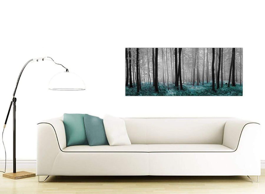Teal Forest Landscape Canvas