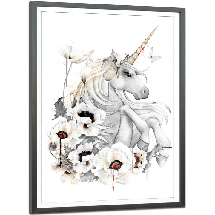 Fantasy Framed Art Prints Unicorn Orange Grey