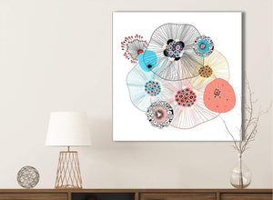 Abstract Floral Multi-Colour Shapes Bathroom Canvas Wall Art Accessories - Abstract 1s485s - 49cm Square Print