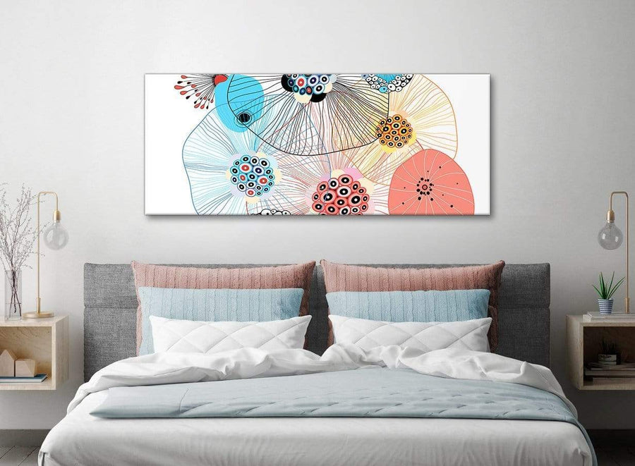Abstract Floral Multi-Colour Flowers Living Room Canvas Wall Art Accessories - Abstract 1485 - 120cm Print