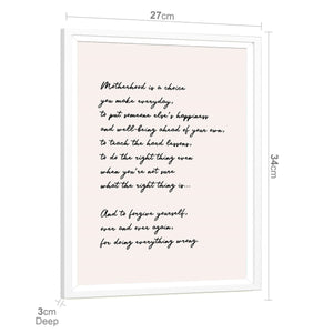 Motherhood Quote Word Art - Typography Framed Print Blush Pink Black