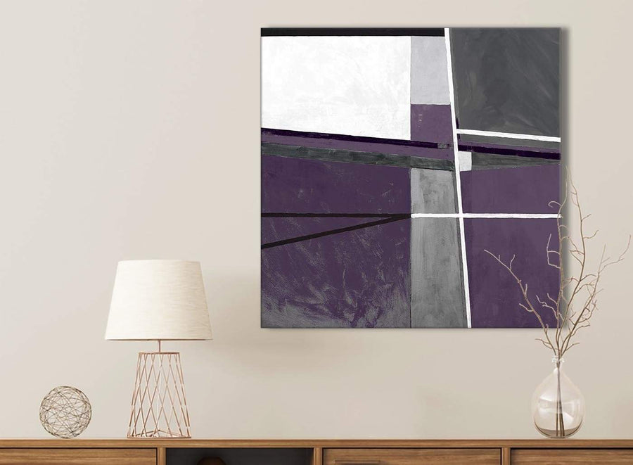 Aubergine Grey Painting Kitchen Canvas Wall Art Accessories - Abstract 1s392s - 49cm Square Print