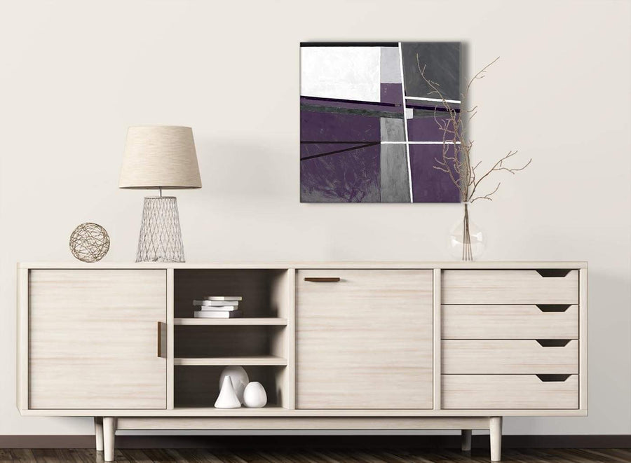 Aubergine Grey Painting Kitchen Canvas Pictures Decorations - Abstract 1s392m - 64cm Square Print
