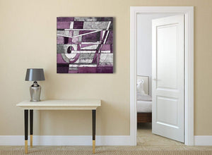 Aubergine Grey White Painting Abstract Dining Room Canvas Pictures Decorations 1s406l - 79cm Square Print