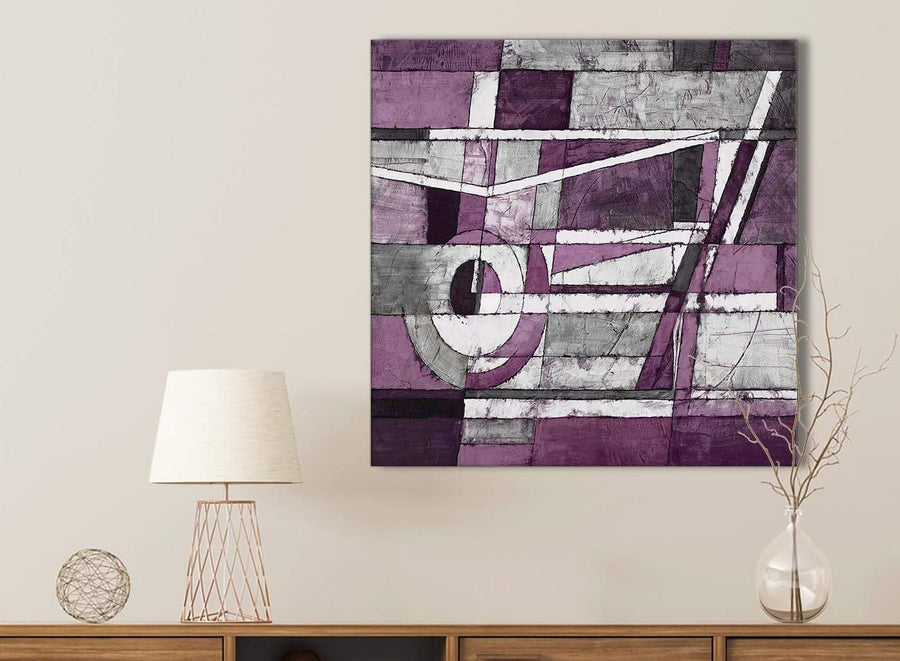 Aubergine Grey White Painting Bathroom Canvas Wall Art Accessories - Abstract 1s406s - 49cm Square Print