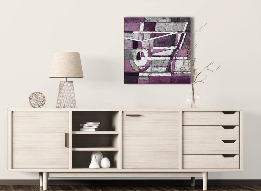 Aubergine Grey White Painting Kitchen Canvas Wall Art Decorations - Abstract 1s406m - 64cm Square Print