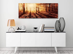 Autumn Leaves Forest Scenic Landscapes Canvas Art Pictures - Trees - 1386 Orange - 120cm Wide Print