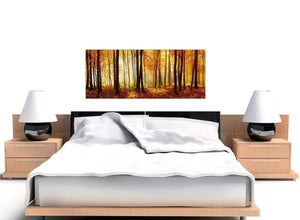 Orange Autumn Forest Trees Canvas Wall Art